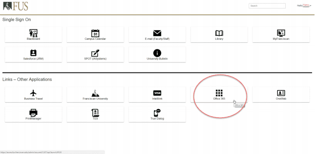 Image displaying where to find office365