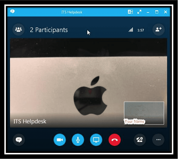 Image displaying a video call with video feed
