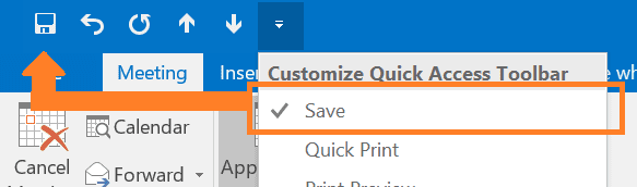 Image showing how to add Save button to quick access toolbar